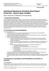 Institutional Repositories Workshop Strand Report: research paper metadata
