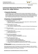 Institutional Repositories Workshop Strand Report: Usage Statistics